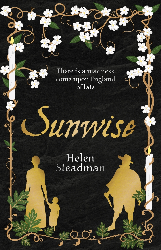 Sunwise cover: black background with a frame of white elderflowers, candles and hawthorn leaves and the silhouettes of Jane and Rose Driver and John Sharpe, who is holding a knife.