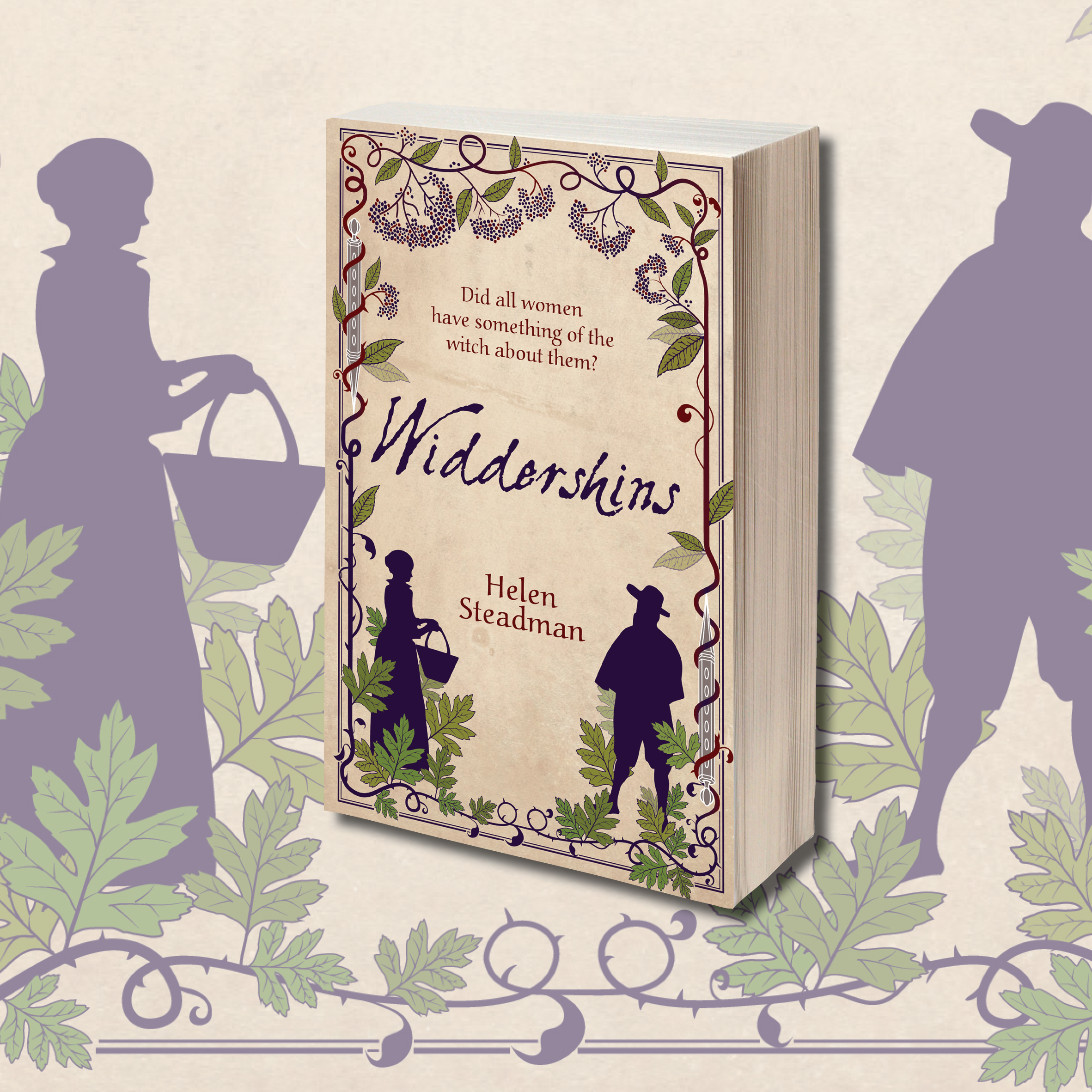 Cover of Widdershins against a backdrop showing the silhouettes of Jane Chandler and John Sharpe.