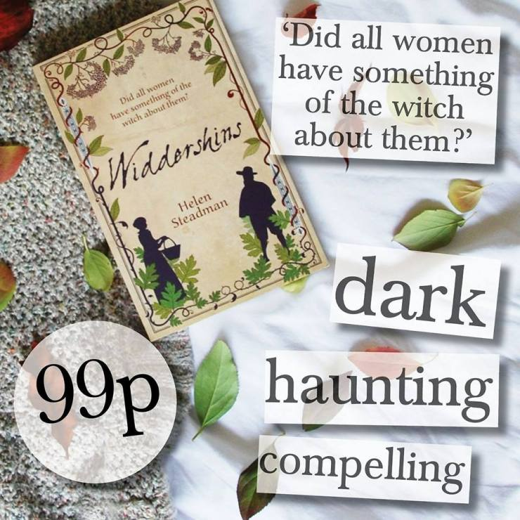 Picture of the novel Widdershins, asking 'Did all women have something of the witch about them?' and a quote saying it is 'dark, haunting and compelling'. A sign says that it is only 99p.