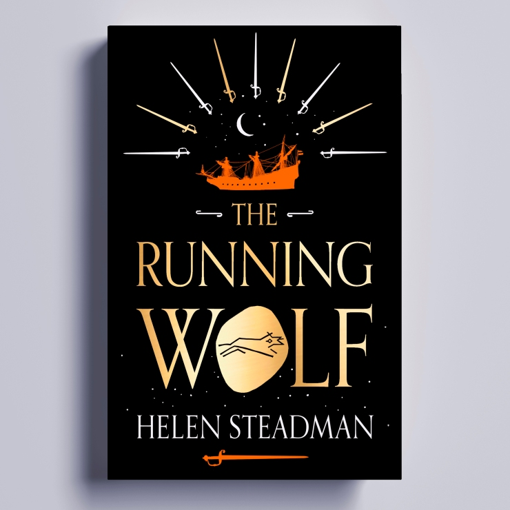 Cover for The Running Wolf, with a black background and gold lettering. The O of wolf is a pool of molten gold with an etched wolf running through it. Above is a Dutch warship, sailing under the constellation of Cancer and a crescent moon. Above is a sunray made of 9 swords.