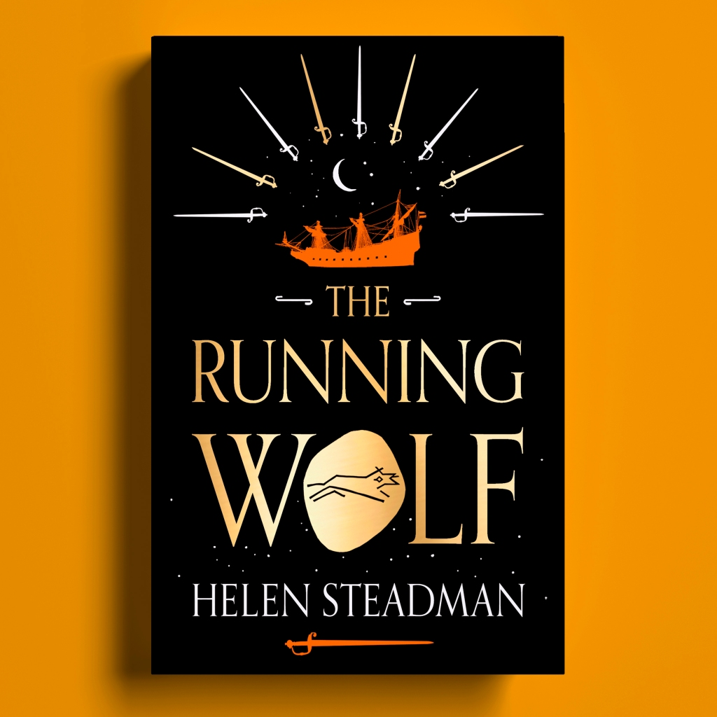 Cover of The Running Wolf against an apricot background. The book has a black background with gold lettering. It shows the running wolf etched on gold, a Dutch warship under a starry sky  and a sunray made of 9 swords.