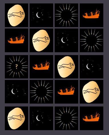 And advent calendar made up of 25 small pictures taken from the cover of The Running Wolf. There is a piece of gold, showing the running wolf blademark, a crescent moon and the constellation of cancer, a sunray of swords, and a warship.
