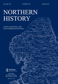 Cover of Northern History journal. Navy blue background with white text, shows a map of the seven northern counties of England.