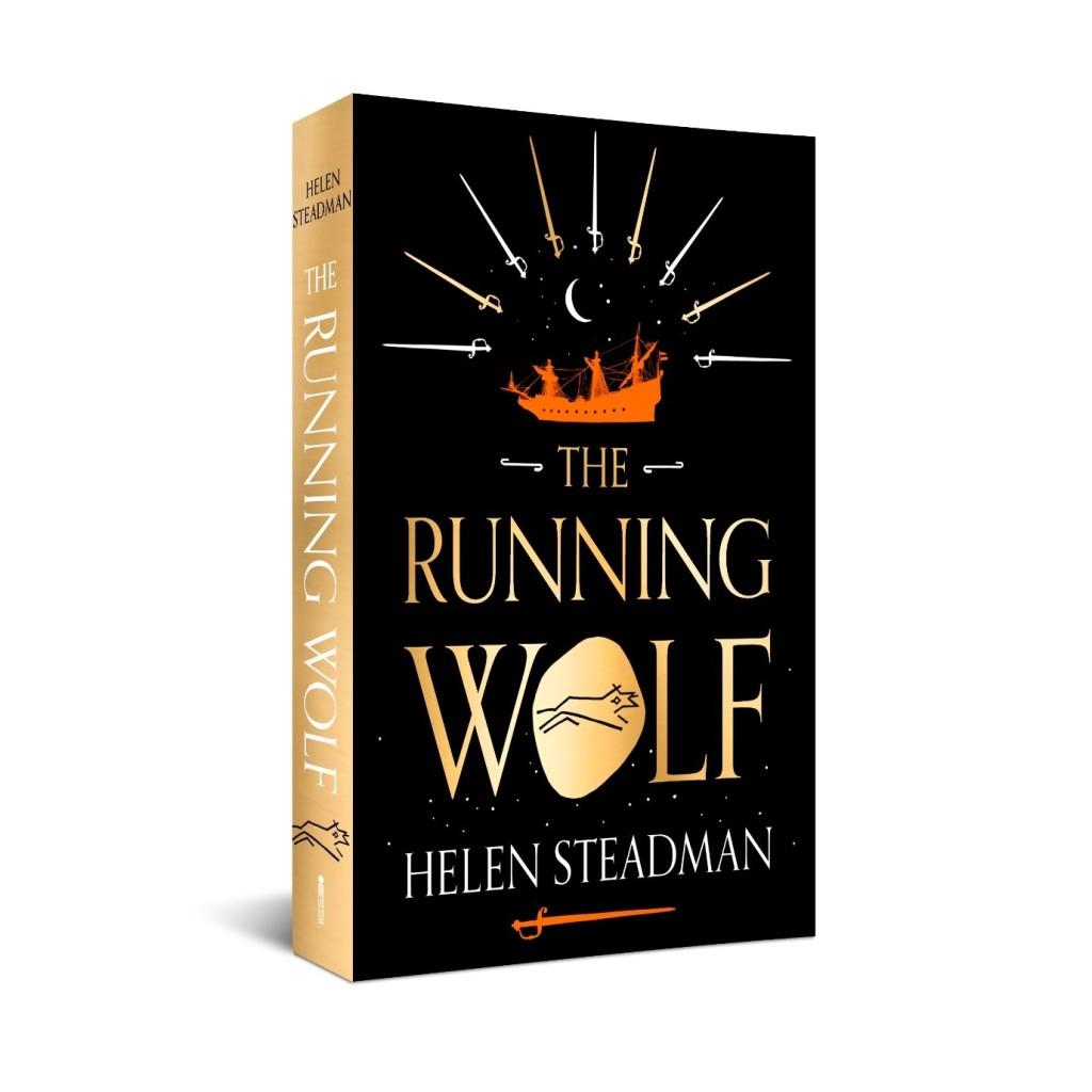 Cover of The Running Wolf, black background with gold lettering, showing a running wolf, a Dutch warship and ten swords.