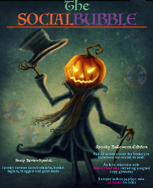 Picture shows the front cover of The Social Bubble, featuring a gothic Jack O'Lantern figure with Victoran frock coat, cane and top hat.