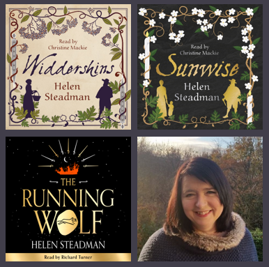A photo of Helen Steadman and the  audiobook covers for her three books: Widdershins, Sunwise and The Running Wolf.
